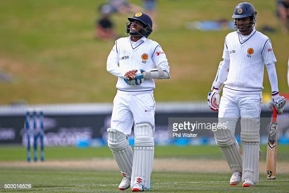 Kusal Mendis of Sri Lanka holds his hand in pain during day three of the Second Test match between New Zealand and Sri Lanka at Seddon Park on...