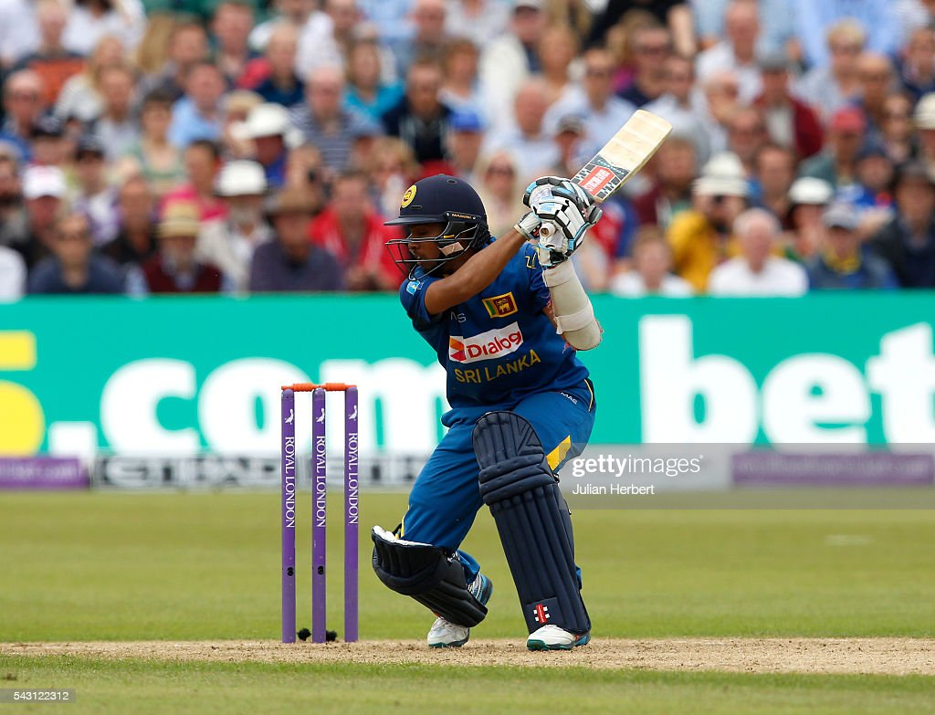 Kusal Mendis of Sri Lanka in action during The 3rd ODI Royal London One-Day match between England and Sri Lanka at The County Ground on June 26, 2016 in Bristol, England.