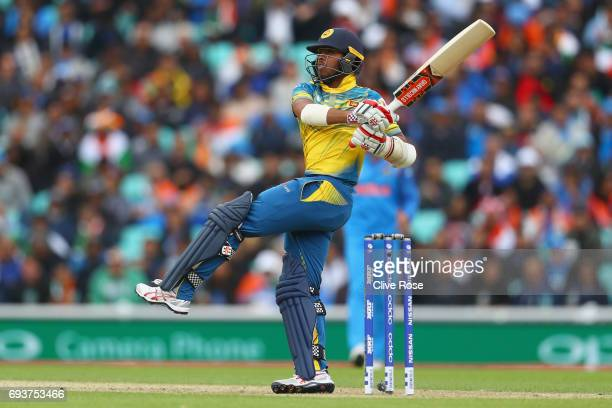 Kusal Mendis of Sri Lanka in action during the ICC Champions trophy cricket match between India and Sri Lanka at The Oval in London on June 8 2017