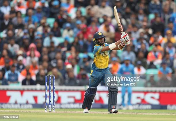 Kusal Mendis of Sri Lanka in action during the ICC Champions Trophy Group B match between India and Sri Lanka at The Kia Oval on June 8 2017 in...