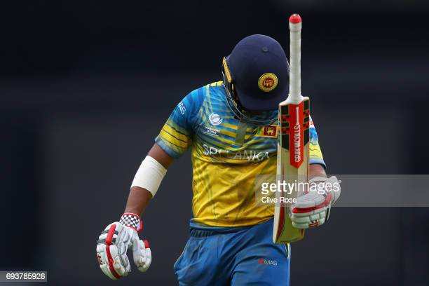 Kusal Mendis of Sri Lanka reacts after being run out during the ICC Champions trophy cricket match between India and Sri Lanka at The Oval in London...