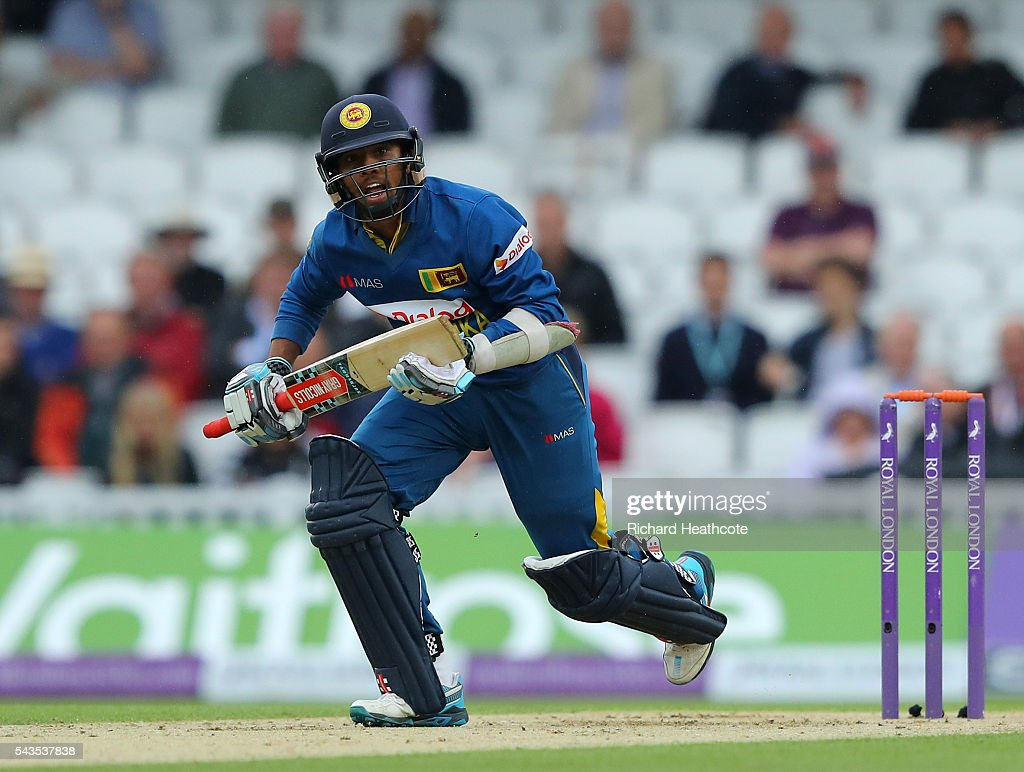 Kusal Mendis of Sri Lanka runs down the pitch during the 4th Royal London ODI between England and Sri Lanka at The Kia Oval on June 29, 2016 in London, England.