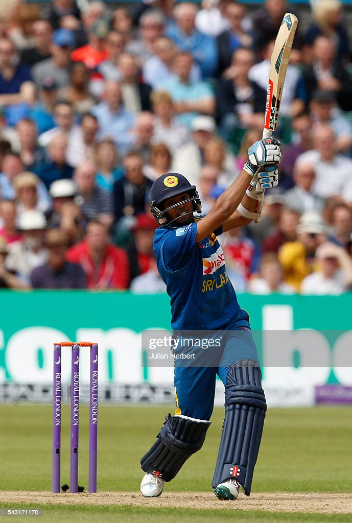 Kusal Mendis of Sri Lanks hits out during The 3rd ODI Royal London One-Day match between England and Sri Lanka at The County Ground on June 26, 2016 in Bristol, England.