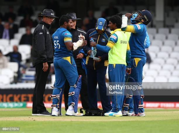 Kusal Perera of Sri Lanka during the ICC Champions Trophy match Group B between India and Sri Lanka at The Oval in London on June 08 2017