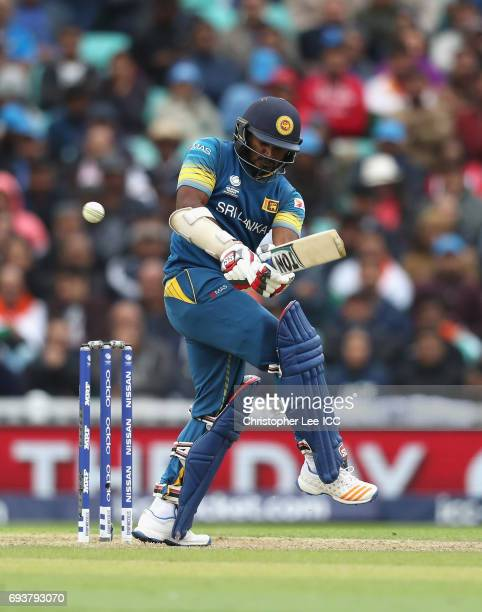 Kusal Perera of Sri Lanka in action during the ICC Champions Trophy Group B match between India and Sri Lanka at The Kia Oval on June 8 2017 in...
