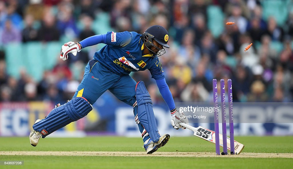 Kusal Perera of Sri Lanka is run out by Jonathan Bairstow of England during the 4th ODI Royal London One Day International match between England and Sri Lanka at The Kia Oval on June 29, 2016 in London, England.