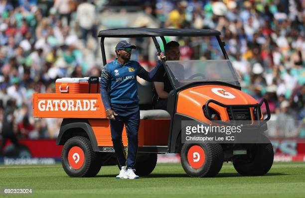 Kusal Perera of Sri Lanka takes a ride in the Gatorade Drinks cart during the ICC Champions Trophy Group B match between Sri Lanka and South Africa...