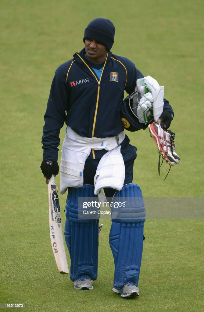 Kusal Perera of Sri Lanka walks to the indoor school ahead of a nets session at The Riverside on May 24, 2014 in Chester-le-Street, England.