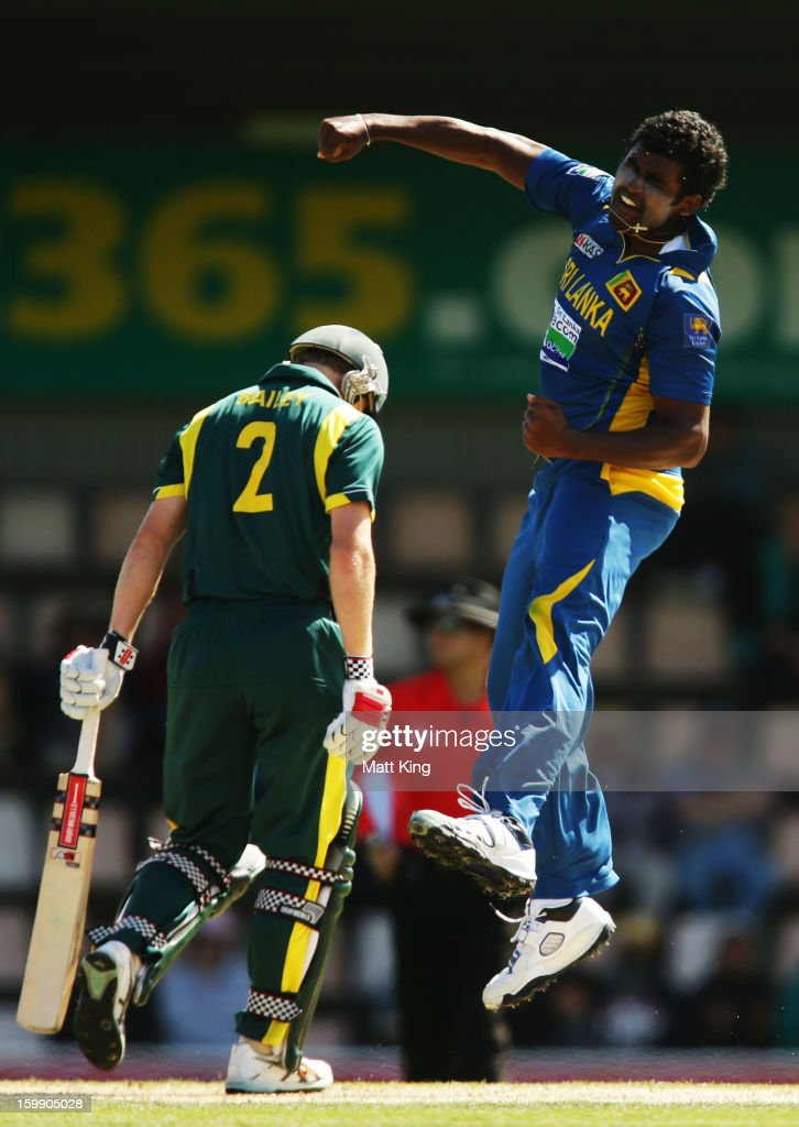 Kushal Perera of Sri Lanka celebrates taking the wicket of George Bailey of Australia during game five of the Commonwealth Bank One Day International series between Australia and Sri Lanka at Blundstone Arena on January 23, 2013 in Hobart, Australia.