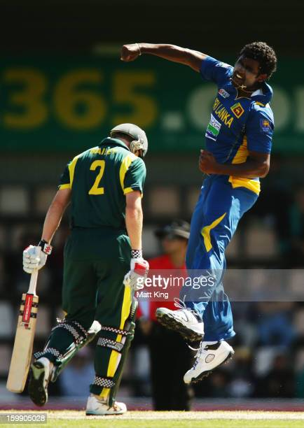 Kushal Perera of Sri Lanka celebrates taking the wicket of George Bailey of Australia during game five of the Commonwealth Bank One Day International...