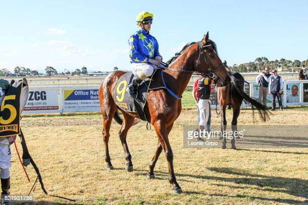 Kushchyenko ridden by Liam Riordan returns after winning the Bairnsdale Mazda Maiden Plate at Bairnsdale Racecourse on July 25 2017 in Bairnsdale...