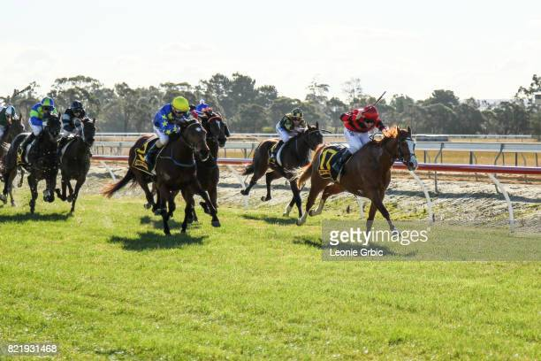 Kushchyenko ridden by Liam Riordan wins the Bairnsdale Mazda Maiden Plate at Bairnsdale Racecourse on July 25 2017 in Bairnsdale Australia