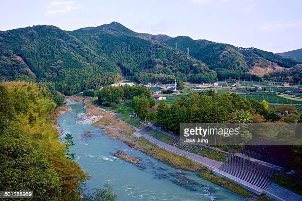 Kushida River against backdrop of mounatins