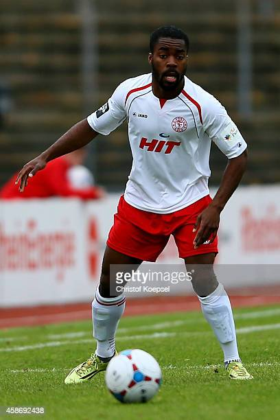 Kusi Kwame of Fortuna Koeln runs with the ball during the third League match between Fortuna Koeln and Holstein Kiel at Suedstadion on November 9...