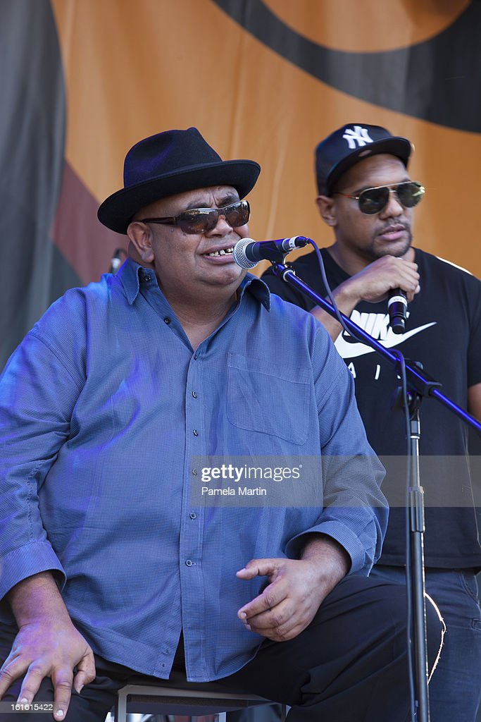 Kutcha Edwards performs live on stage during 'The Apology - Five Years On - Heal our Past, Build our Future' at Federation Mall on February 13, 2013 in Canberra, Australia.