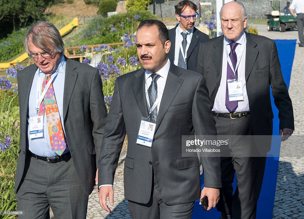 Kuwait Central Bank Governor Mohammad al-Hashel (C) and David Vines (L) of Oxford University arrive to participate in the ECB Forum on Central Banking on June 27, 2016 in Sintra, Portugal. The third annual European Central Bank Forum on Central Banking focuses on 'The future of the international monetary and financial architecture', a key topic of debate among economists and policymakers. Some 150 central bank governors, academics, financial journalists and high-level financial market representatives will discuss current policy issues and the chosen topic from a longer-term perspective.