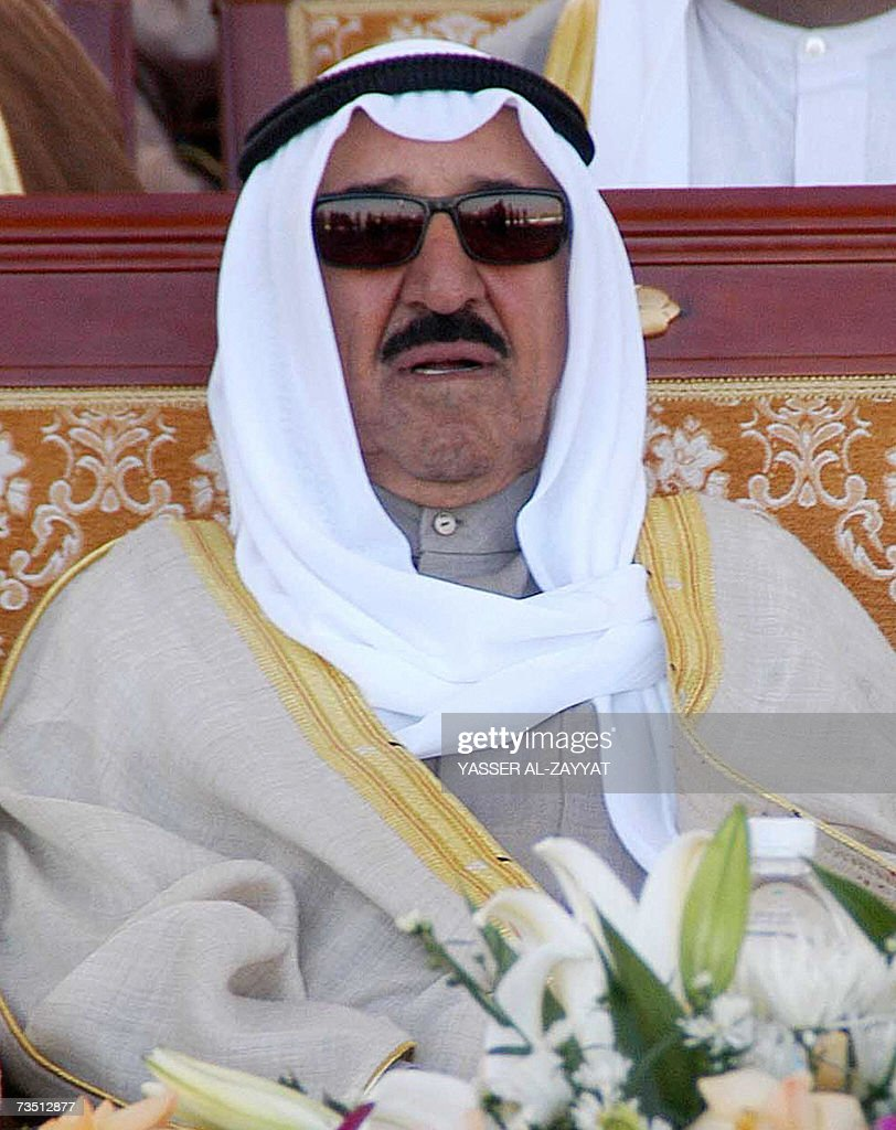 Emir of Kuwait Sheikh Sabah alAhmad alJaber alSabah attends a military parade in Kuwait City 07 March 2007 The Gulf state displayed Apache attack...