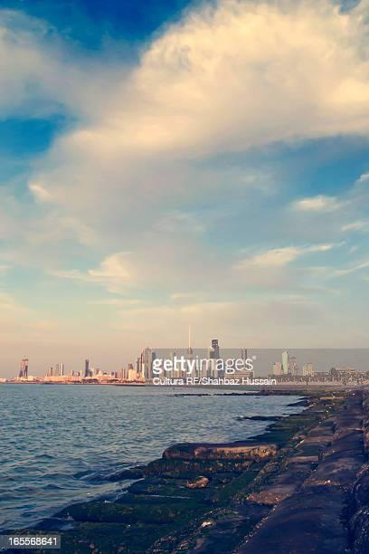 Kuwait City skyline and water