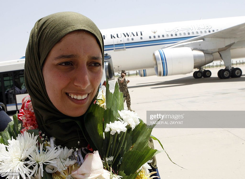 Kuwaiti activist Haya al-Shatti, who was detained aboard the Gaza-bound flotilla raided by Israel on May 31, 2010, arrives at Kuwait City airport on June 2, 2010 after she was deported from Israel.