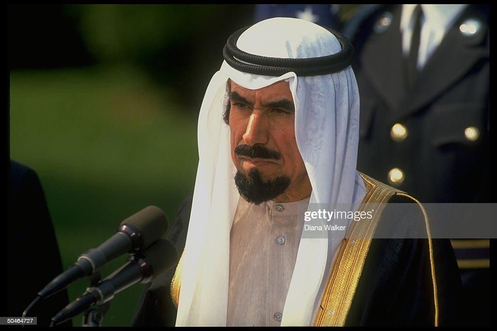 Kuwaiti Emir Jaber alAhmad Al Sabah speaking during WH S Lawn departure ceremony ending gulf crisis visit