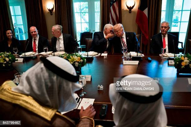 TOPSHOT Kuwaiti Emir Sheikh Sabah alAhmad AlSabah and others wait while US President Donald Trump and US Vice President Mike Pence speak before a...