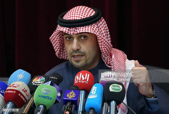 Kuwaiti finance minister Anas alSaleh speaks during a press conference in Kuwait city on January 26 2015 Kuwait projected a USD 24billion deficit in...