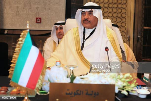 Kuwaiti foreign minister Sheikh Sabah alKhaled alSabah attends the preparatory meeting of Arab Foreign Ministers during the 28th Summit of the Arab...