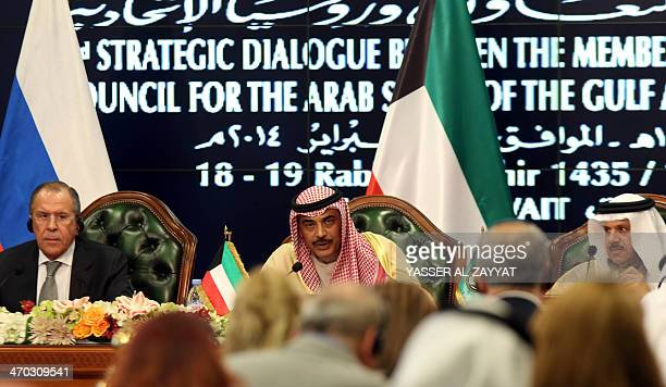 Kuwaiti Foreign Minister Sheikh Sabah alKhaled alSabah speaks near Russian Foreign Minister Sergey Lavrov and the Gulf Cooperation Council secretary...