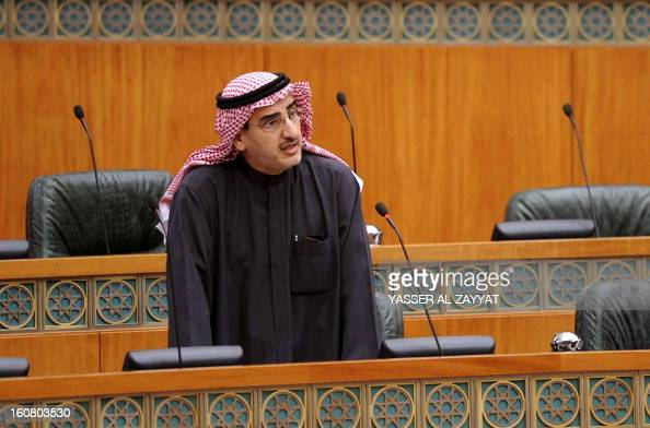 Kuwaiti Minister of Electricity Water and Public Works Abdulaziz alIbrahim addresses a parliament session at Kuwait's national assembly in Kuwait...