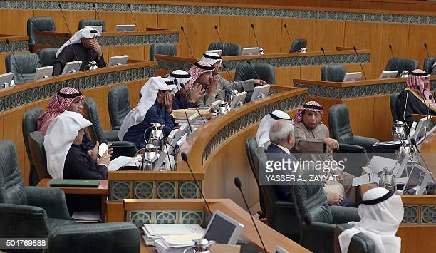 Kuwaiti MPs take part in a parliament session at Kuwait's National Assembly in Kuwait City on January 13 2016 All Kuwaiti MPs from the minority...