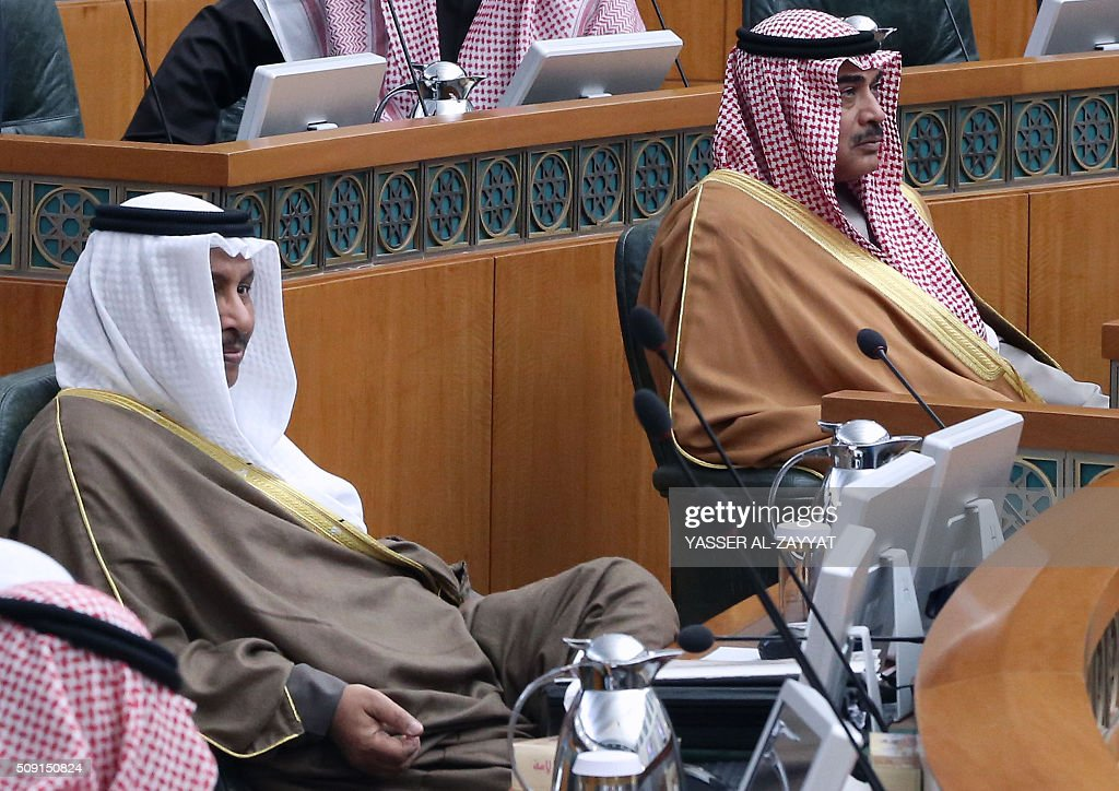 Kuwaiti Prime Minister Sheikh Jaber al-Mubarak al-Sabah (L) and and Kuwaiti Foreign Minister Sheikh Sabah al-Khaled al-Sabah take part in a parliament session on February 9, 2016 at the national assembly in Kuwait City. / AFP / YASSER AL-ZAYYAT