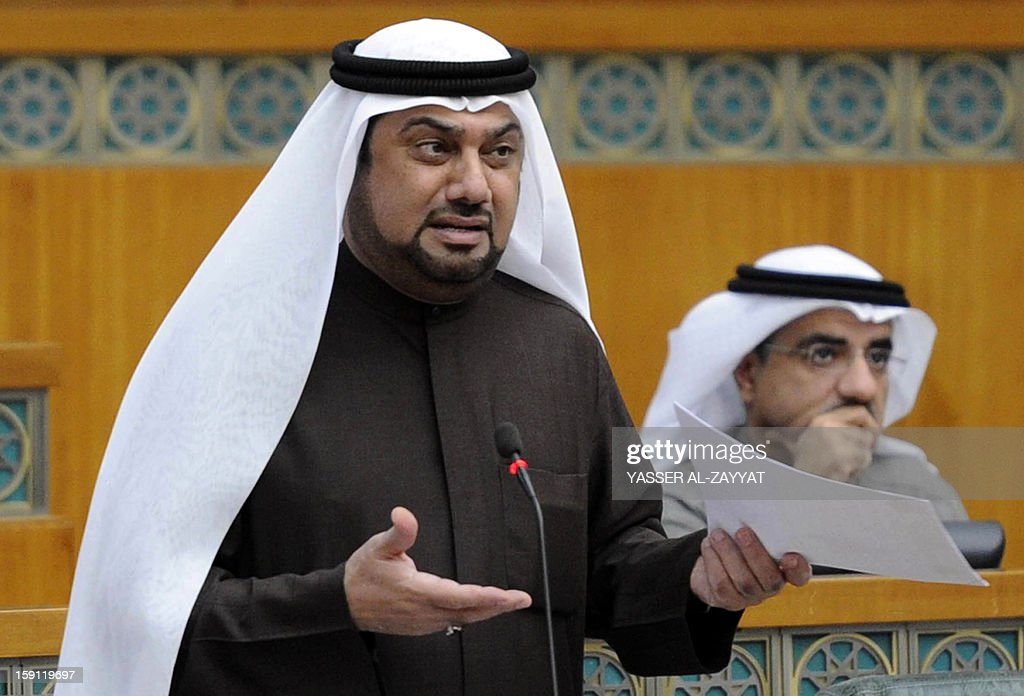 Kuwaiti Shiite MP Yousef al-Zalzalah speaks during a parliament session at the Kuwait National Assembly in Kuwait City on January 8, 2013. Kuwait parliament overwhelmingly approved the controversial electoral decree that caused the opposition in the oil-rich Gulf state to boycott the December 1 general elections. AFP PHOTO/YASSER AL-ZAYYAT