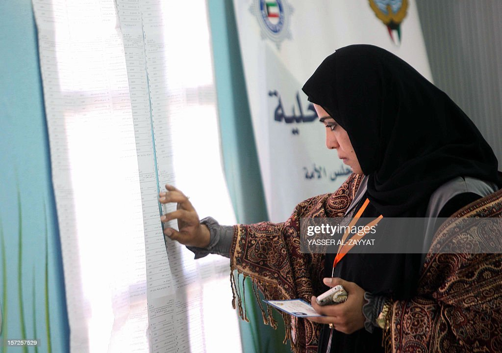 A Kuwaiti woman looks for her name on the registered voter's list at a polling station in Kuwait City on December 1, 2012. Kuwaitis are casting ballots to elect a second parliament in ten months, but early turnout was low as voters appeared to heed an opposition call to shun the poll over a disputed electoral law.