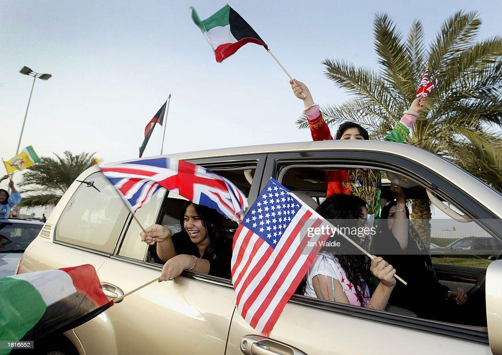Kuwaitis Celebrate Liberation Day : Stock Photo