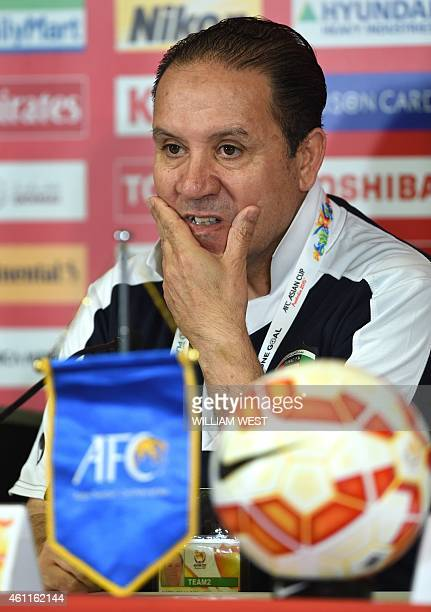 Kuwait's football coach Nabil Maaloul listens to questions before his team's final training session ahead of the Asian Cup in Melbourne on January 8...