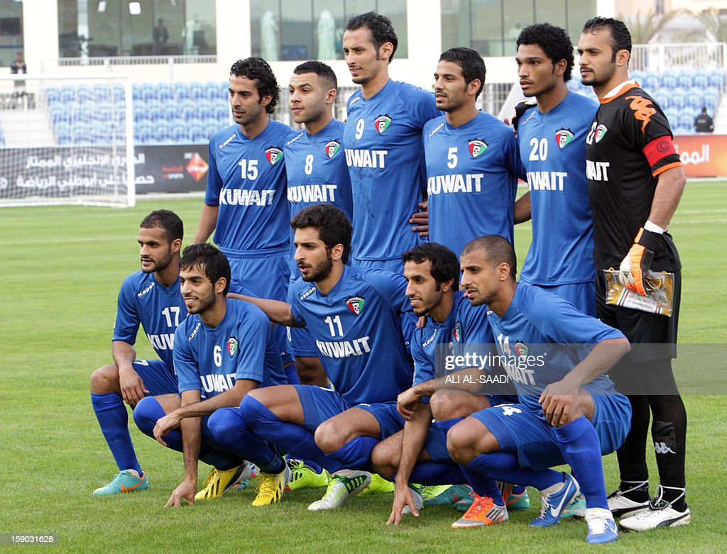Kuwait's national team players pose for a photograph prior to the start of their Gulf Cup football match Kuwait versus Yemen, on January 6, 2013, in the Bahraini capital, Manama. AFP PHOTO/ALI AL -SAADI
