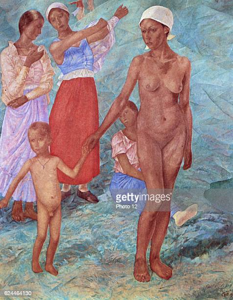 Kuzma PetrovVodkin Russian school Morning Bathers Woman and small boy naked Oil on canvas