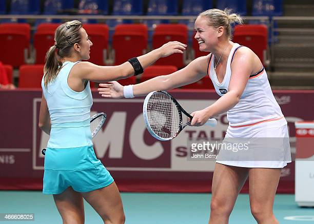 Kveta Peschke of Czech Republic and AnnaLena Groenefeld of Germany wins the doubles final of the 22nd Open GDF Suez held at the Stade de Coubertin on...