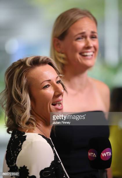 Kveta Peschke of Czech Republic and AnnaLena Groenefeld of Germany are interviewed during day 3 of the BNP Paribas WTA Finals Singapore presented by...