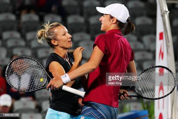 Kveta Peschke of Czech Republic and Katarina Srebotnik of Slovenia celebrate winning the Womens Doubles final match against Liezel Huber and Lisa...