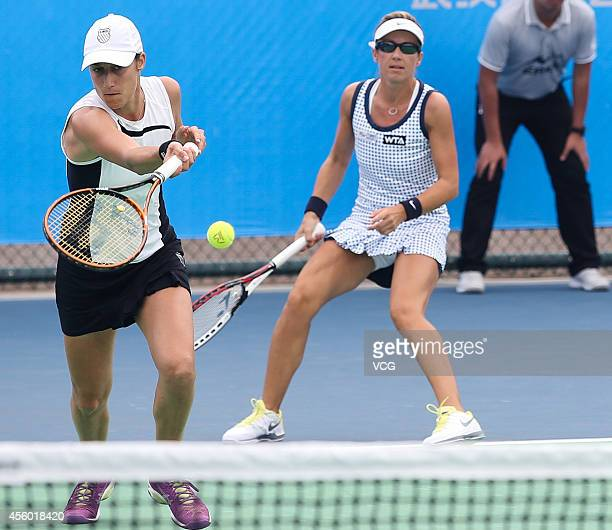 Kveta PESCHKE of Czechoslovakia and Katarina SREBOTNIK of Slovenia compete with Bethanie MATTEKSANDS of USA and Andrea PETKOVIC of Germany during day...