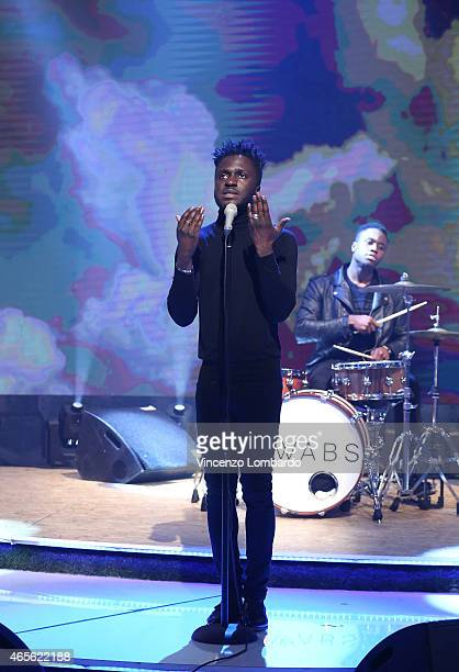 Kwabs performs at 'Quelli Che Il Calcio' Tv Show on March 8 2015 in Milan Italy