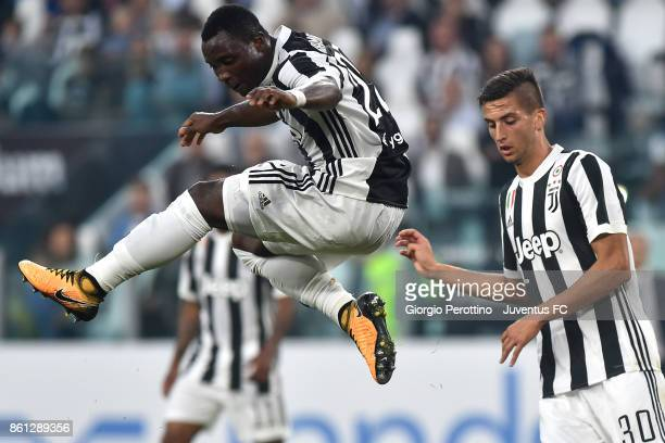 Kwadwo Asamoah and Rodrigo Bentancur of Juventus in action during the Serie A match between Juventus and SS Lazio on October 14 2017 in Turin Italy