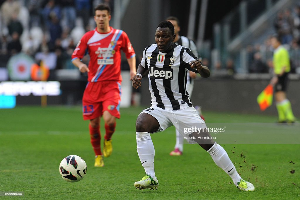 Kwadwo Asamoah of FC Juventus in action during the Serie A match between FC Juventus and Calcio Catania at Juventus Arena on March 10, 2013 in Turin, Italy.