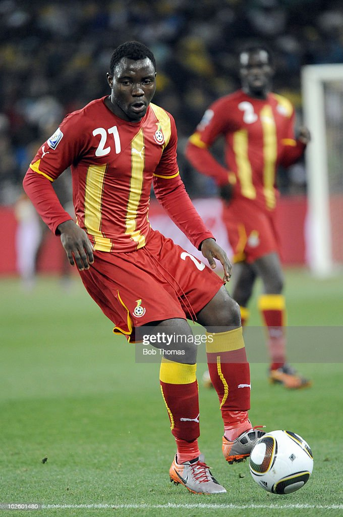 <a gi-track='captionPersonalityLinkClicked' href=/galleries/search?phrase=Kwadwo+Asamoah&family=editorial&specificpeople=4376914 ng-click='$event.stopPropagation()'>Kwadwo Asamoah</a> of Ghana in action during the 2010 FIFA World Cup South Africa Quarter Final match between Uruguay and Ghana at the Soccer City stadium on July 2, 2010 in Johannesburg, South Africa. The match ended 1-1 after extra-time. Uruguay won 4-2 on penalties.