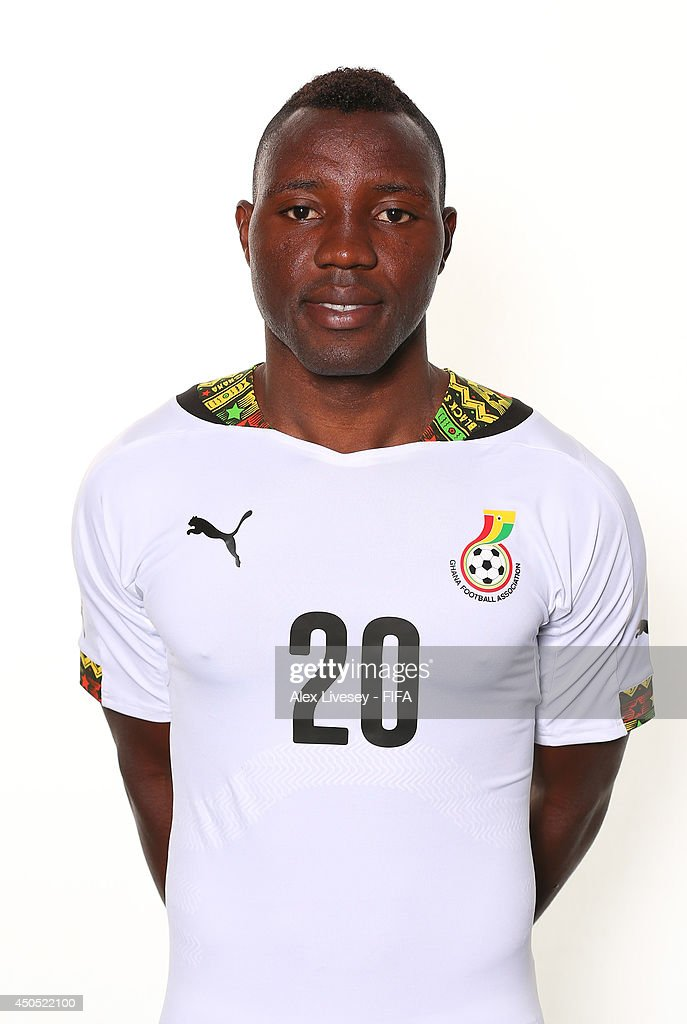<a gi-track='captionPersonalityLinkClicked' href=/galleries/search?phrase=Kwadwo+Asamoah&family=editorial&specificpeople=4376914 ng-click='$event.stopPropagation()'>Kwadwo Asamoah</a> of Ghana poses during the official FIFA World Cup 2014 portrait session on June 11, 2014 in Maceio, Brazil.