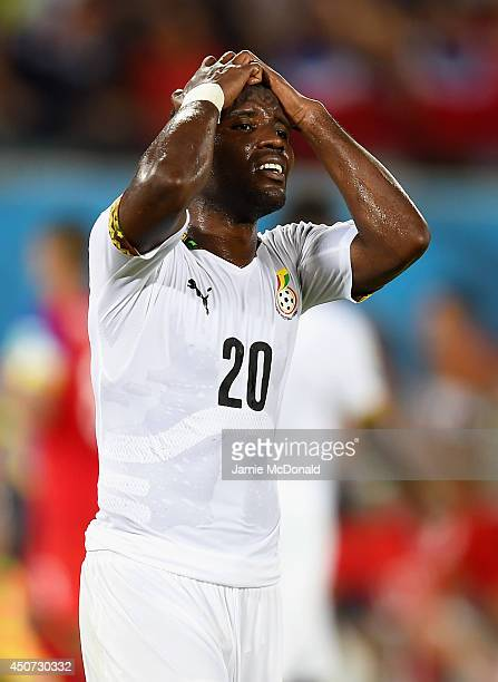 Kwadwo Asamoah of Ghana reacts during the 2014 FIFA World Cup Brazil Group G match between Ghana and the United States at Estadio das Dunas on June...