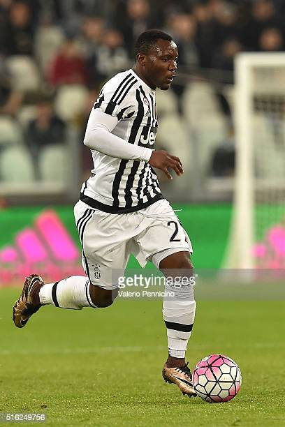 Kwadwo Asamoah of Juventus FC in action during the Serie A match between Juventus FC and US Sassuolo Calcio at Juventus Arena on March 11 2016 in...
