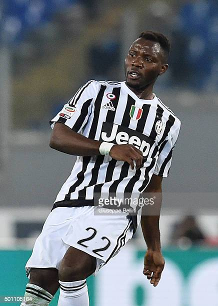 Kwadwo Asamoah of Juventus FC in action during the Serie A match between SS Lazio and Juventus FC at Stadio Olimpico on December 4 2015 in Rome Italy
