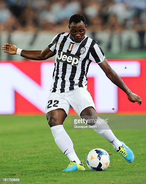 Kwadwo Asamoah of Juventus in action during the TIM Supercup match between SS Lazio and FC Juventus at Olimpico Stadium on August 18 2013 in Rome...